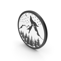 Icon Mountains Night Scene PNG & PSD Images