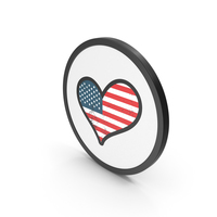 Icon USA Heart Flag PNG & PSD Images