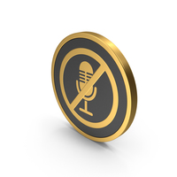 Gold Icon No Microphone PNG & PSD Images