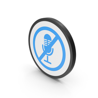 Icon No Microphone Blue PNG & PSD Images