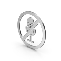 Symbol No Microphone Silver PNG & PSD Images