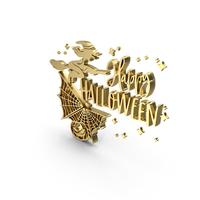 Golden Happy Halloween Banner PNG & PSD Images