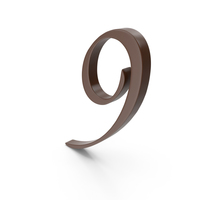 9 Brown Number PNG & PSD Images