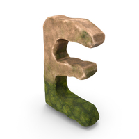 E Letter Mossy Rock PNG & PSD Images