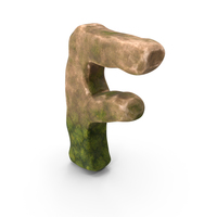 F Letter Mossy Rock PNG & PSD Images