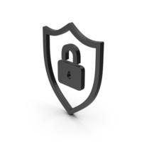 Symbol Shield Lock Black PNG & PSD Images