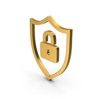 Symbol Shield Lock Gold PNG & PSD Images