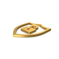 Gold Symbol Shield Lock PNG & PSD Images