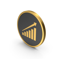Gold Icon Graph With Arrow PNG & PSD Images