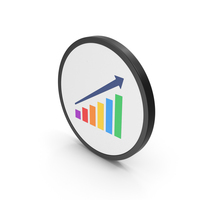 Icon Graph With Arrow Colored PNG & PSD Images
