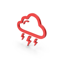Symbol Weather Thunderstorm Red PNG & PSD Images