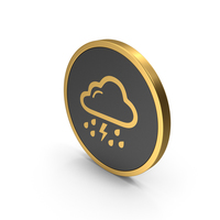 Gold Icon Rain And Thunderstorm PNG & PSD Images