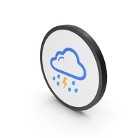Icon Rain And Thunderstorm Colored PNG & PSD Images