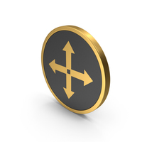 Gold Icon Move Button PNG & PSD Images