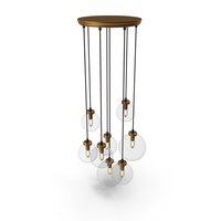 Quentin Glass Globe Brass Chandelier PNG & PSD Images