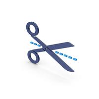 Symbol Line Cut Scissors Blue PNG & PSD Images