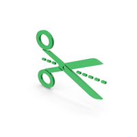 Symbol Line Cut Scissors Green PNG & PSD Images