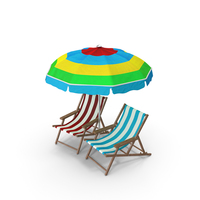 Umbrella And Beach Chair PNG & PSD Images