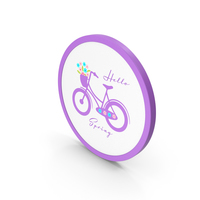 Hello Spring  Bicycle Purple PNG & PSD Images