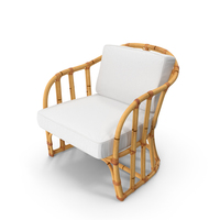 Bamboo Armchair with Cushions PNG & PSD Images