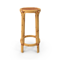 Bamboo Backless Counter Stool PNG & PSD Images