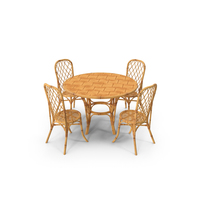 Bamboo Dining Table with Chairs Set PNG & PSD Images