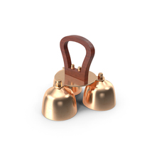 Brass Liturgical Bell 3 Tones Wood Handle PNG & PSD Images