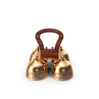 Brass Liturgical Bell 4 Tones Wood Handle PNG & PSD Images