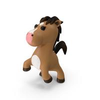 Brown Cartoon Horse Jumping Pose PNG & PSD Images