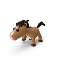Brown Cartoon Horse Walking Pose PNG & PSD Images
