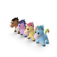 Cartoon Unicorn Set PNG & PSD Images