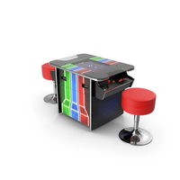 Cocktail Table Arcade Machine with Stools PNG & PSD Images