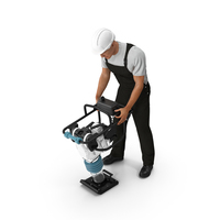 Construction Worker with Tamping Rammer PNG & PSD Images
