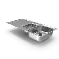 Double Bowl Kitchen Sink with Drainboard PNG & PSD Images