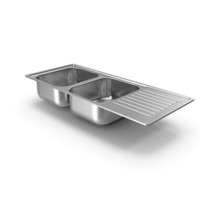 Double Bowl Stainless Steel Sink with Drainboard PNG & PSD Images