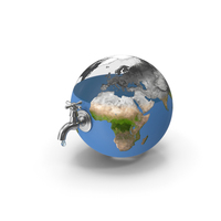 Earth Stylized Iron Tap with Water Drop PNG & PSD Images