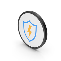 Icon Shield And Lighting Colored PNG & PSD Images