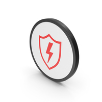 Icon Shield And Lighting Red PNG & PSD Images
