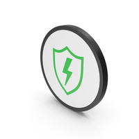Icon Shield And Lighting Green PNG & PSD Images