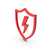 Symbol Shield And Lighting Red PNG & PSD Images