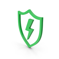 Symbol Shield And Lighting Green PNG & PSD Images