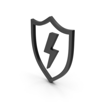 Symbol Shield And Lighting Black PNG & PSD Images