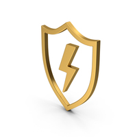 Symbol Shield And Lighting Gold PNG & PSD Images