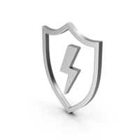 Symbol Shield And Lighting Silver PNG & PSD Images