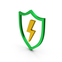 Shield And Lighting Colored Metallic PNG & PSD Images