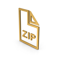 Symbol ZIP File Gold PNG & PSD Images