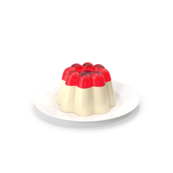 Jelly Pudding Chery Milk on Plate PNG & PSD Images