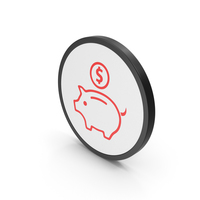 Icon Piggy Bank Red PNG & PSD Images