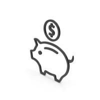 Symbol Piggy Bank Black PNG & PSD Images