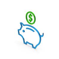 Piggy Bank Colored Metallic PNG & PSD Images